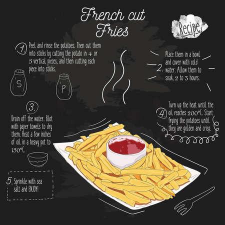 Hand Drawn Colorful french cut potato fries Recipe on blackboard