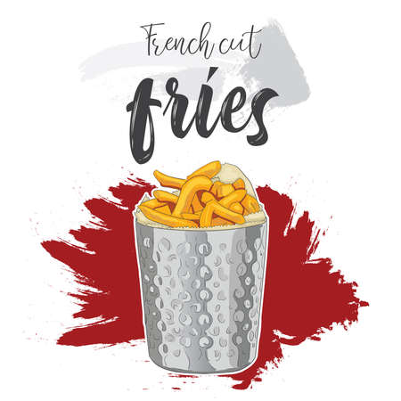Hand drawn colorful fast food French cut fries in a metal cup Illustration