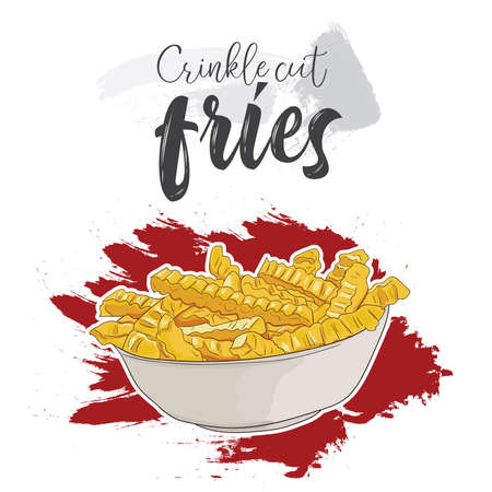 Hand drawn colorful fast food crinkle cut fries in bowl Illustration