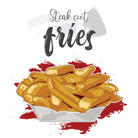 Hand drawn colorful fast food steak cut fries in a paper bowl