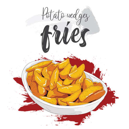 Hand drawn colorful fast food potato wedges fries in a bowl