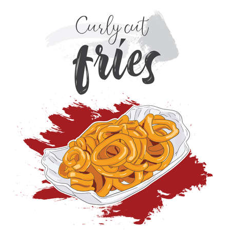 Hand drawn colorful fast food curly cut fries in a bowl
