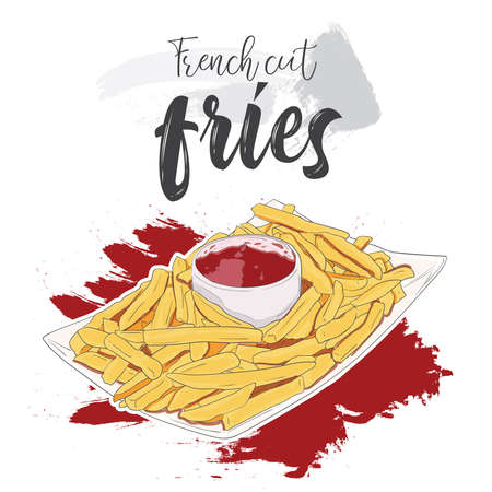 Hand drawn colorful fast food French cut fries in bowl with ketchup
