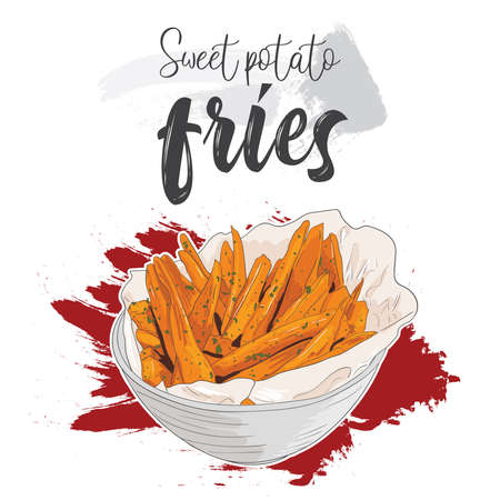 Hand drawn colorful fast food Sweet potato fries in a bowl