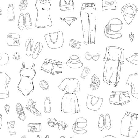 Seamless pattern with the summer clothes, dresses and bags in black and white