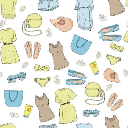 Seamless pattern with the summer clothes, dresses and bags
