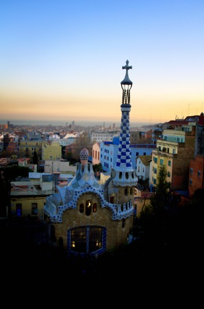 Gaudi architecture in park Guell in Barcelona photo