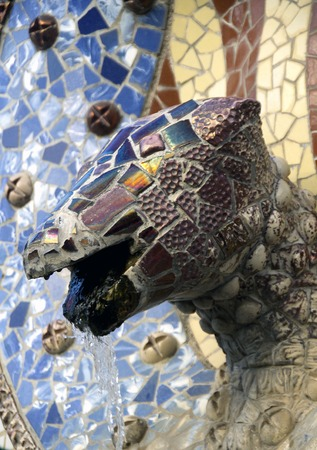 Dragon fountain in park Guell in Barcelona photo