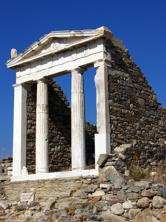 Pillars of Pantheon in acient city of Delos,near Mykonos photo
