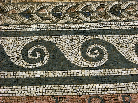 phallus: Mosaics on the floor on ancient island Delos near Mykonos - Greece Stock Photo