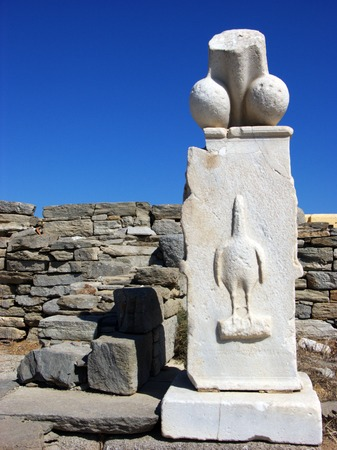 phallus: Headless Stone Statue of Dionyis penis in Delos,Greece