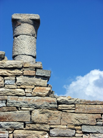 Architecture and details of historic city Delos near Mykonos , Greece photo