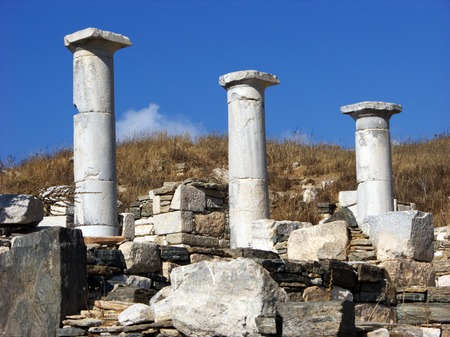 Columns and ruins on island Delos near Mykonos photo