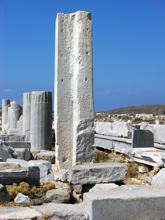 Antic Stone Columns and Pillars in island Delos near the Mykonos photo