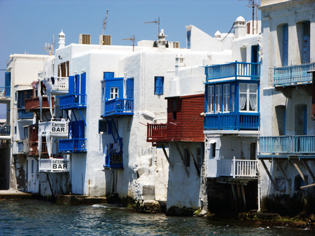View at the houses in the water in Mykonos island