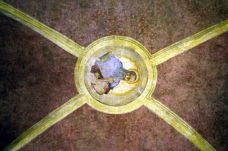 Religious antique wall painting on the ceiling in Venice