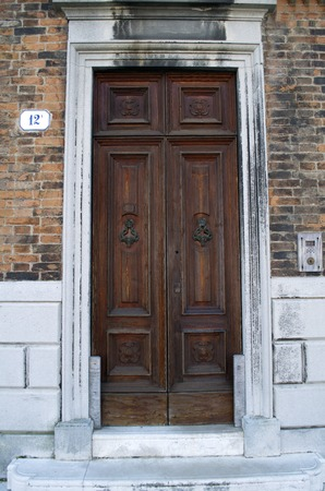 Stock Photo   Traditional Wooden Old Fashioned Door In Venice,Italy