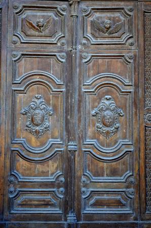 Door of St. Publius Parish Church in Floriana, Malta Stock Photo