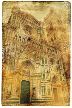 Florence in vintage style postcards