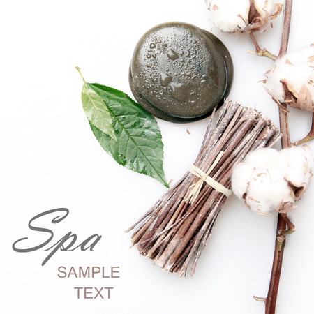 aromatherapy and accessories for the spa on a white background