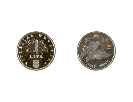 1 Lipa coin isolated on white background. The kuna is the currency of Croatia.It is subdivided into 100 lipa. Commemorative coin.