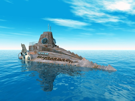 Fantasy Submarine Stock Photo