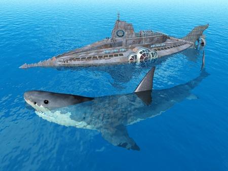 submarino: Fantasy Submarine con el tiburón gigante