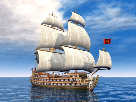 portage: French Sailing Ship Stock Photo