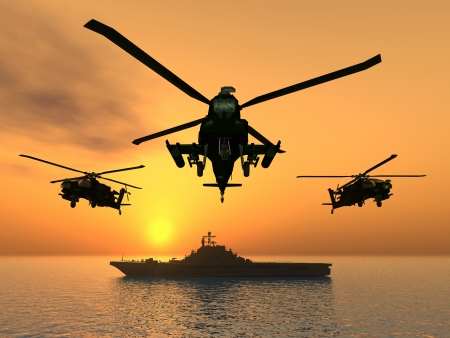 Apache Helicopter met Aircraft Carrier