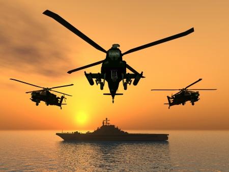 apache: Helic�ptero Apache con el portaaviones Foto de archivo