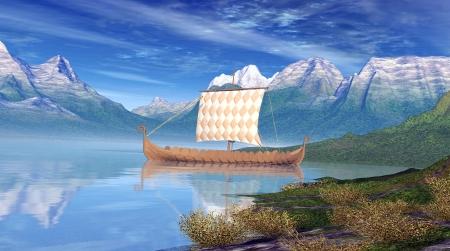 viking ship: Viking Ship Stock Photo