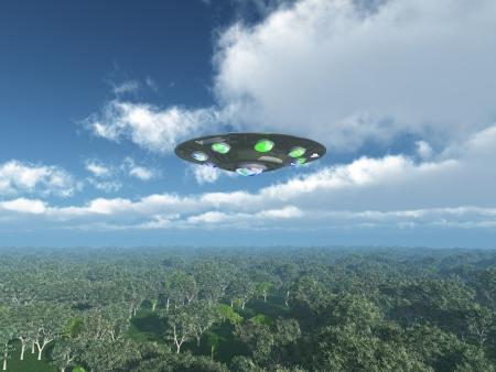 Alien Spacecraft over de Jungle