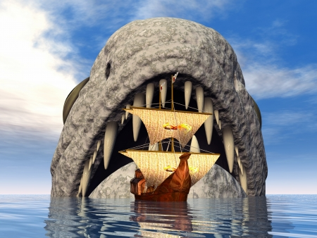 monstrosities: Sea Monster with Sailing Ship Stock Photo