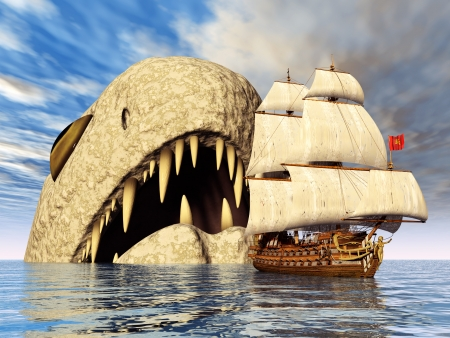 hugely: Sea Monster with Sailing Ship Stock Photo