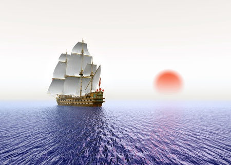Sailing Ship with red Sun Stock Photo - 17195619
