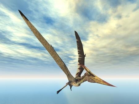 飛行の恐竜プテラノドン 写真素材