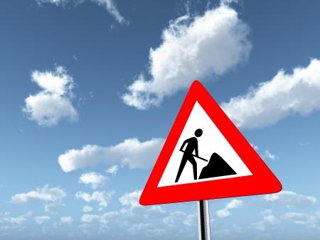 road works: Warning Sign Road Works