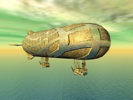 Airship with Ocean and green Sky