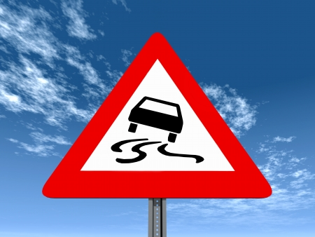 signaling: Road slippery when wet or dirty Stock Photo