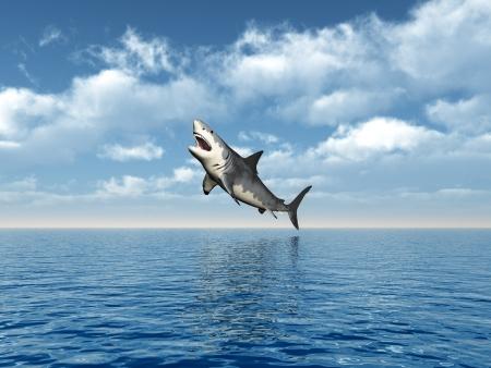 Büyük Beyaz Köpekbalığı atlama Stock Photo