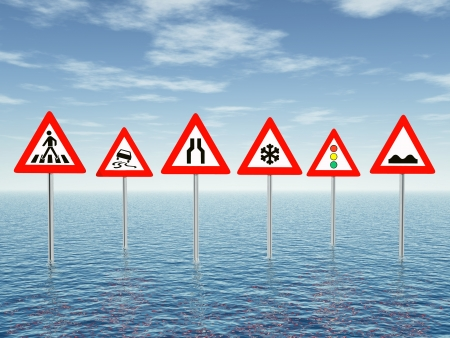 Ocean with Traffic Signs Stock Photo - 17627328