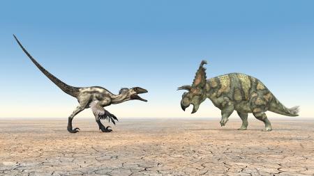 deinonychus: Deinonychus and Albertaceratops Stock Photo