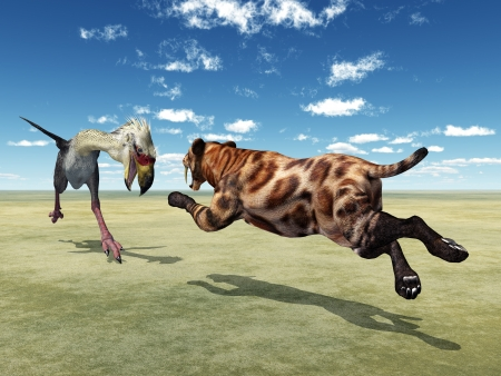Phorusrhacos and Smilodon photo