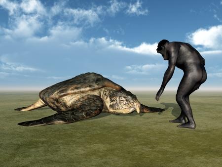 hombre prehistorico: Homo Habilis - Evoluci?n Humana Foto de archivo