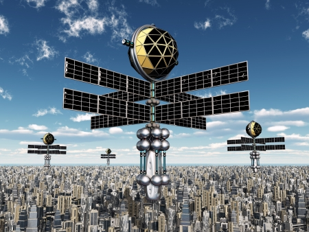 Alien Spacecraft in Earth s Atmosphere Stock Photo