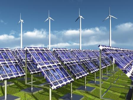 solar power plant: Solar Power Plant and Wind Farm Stock Photo