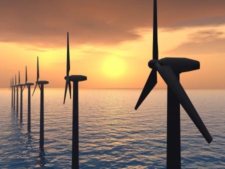 wind farm: Parque E?lico Offshore Foto de archivo
