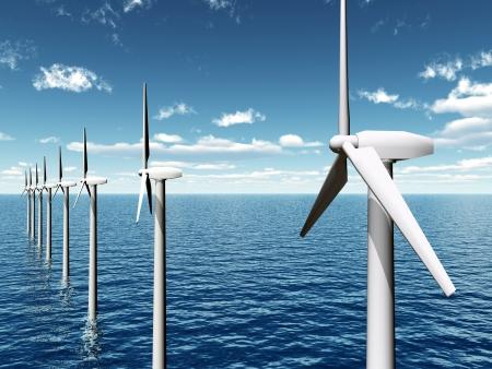 viento: Parque E?lico Offshore Foto de archivo