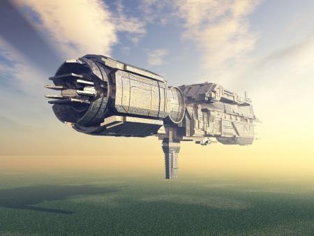 fantasy alien: Earth Atmosphere with Alien Spacecraft