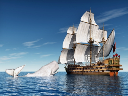 whale watching: Sailing Ship with White Whale
